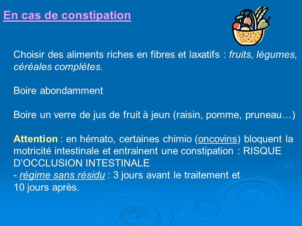 En cas de constipation Choisir des aliments riches en fibres et laxatifs : fruits, légumes, céréales complètes. Boire abondamment Boire un verre de ju
