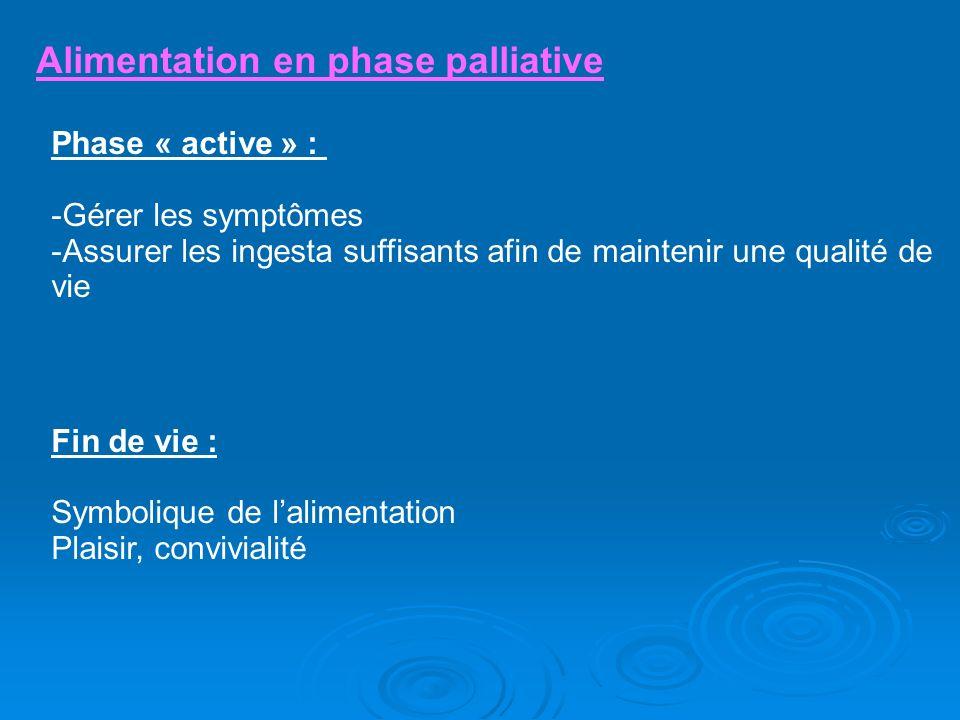 Alimentation en phase palliative Phase « active » : -Gérer les symptômes -Assurer les ingesta suffisants afin de maintenir une qualité de vie Fin de v