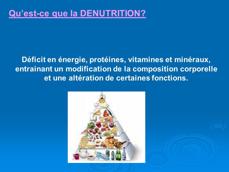 Quest-ce que la DENUTRITION? Déficit en énergie, protéines, vitamines et minéraux, entrainant un modification de la composition corporelle et une alté