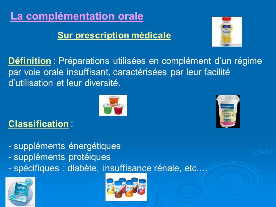 La complémentation orale Définition : Préparations utilisées en complément dun régime par voie orale insuffisant, caractérisées par leur facilité duti