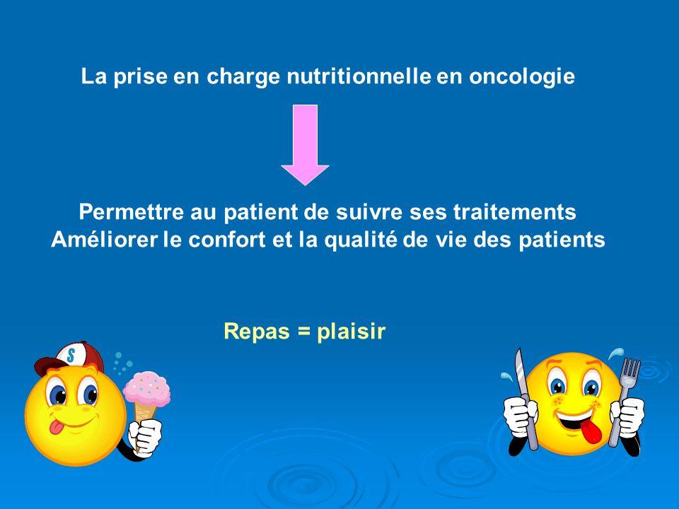 La prise en charge nutritionnelle en oncologie Permettre au patient de suivre ses traitements Améliorer le confort et la qualité de vie des patients R