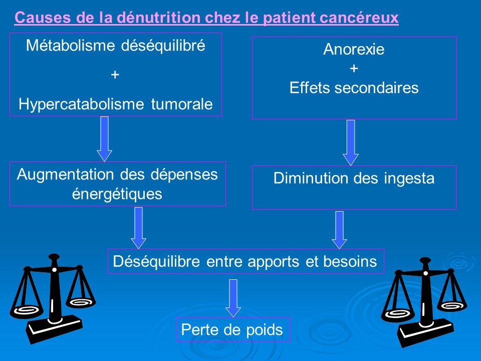 Métabolisme déséquilibré + Hypercatabolisme tumorale Anorexie + Effets secondaires Augmentation des dépenses énergétiques Diminution des ingesta Déséq