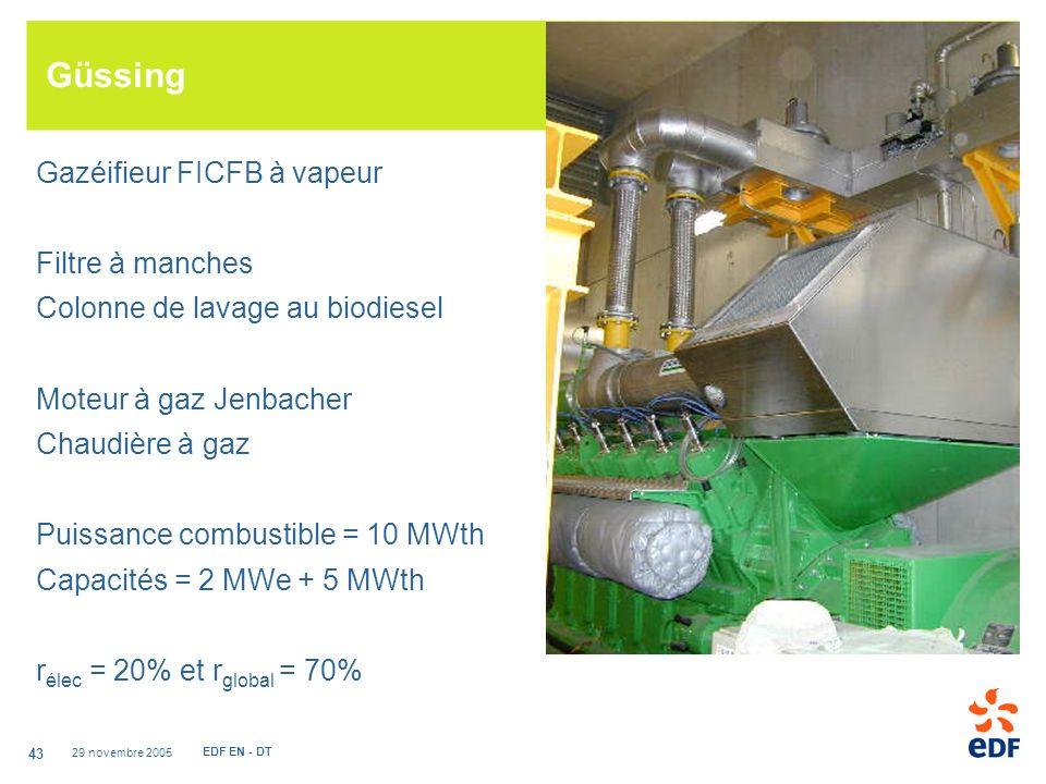 29 novembre 2005 EDF EN - DT 43 Güssing Gazéifieur FICFB à vapeur Filtre à manches Colonne de lavage au biodiesel Moteur à gaz Jenbacher Chaudière à gaz Puissance combustible = 10 MWth Capacités = 2 MWe + 5 MWth r élec = 20% et r global = 70%