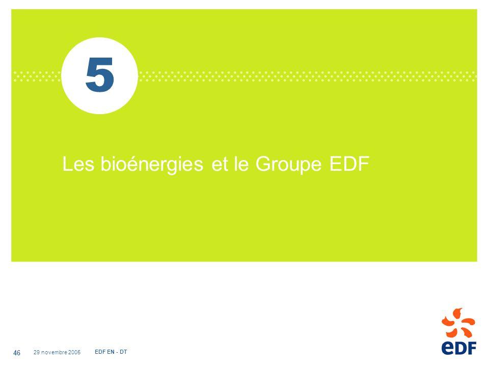 29 novembre 2005 EDF EN - DT 46 5 Les bioénergies et le Groupe EDF