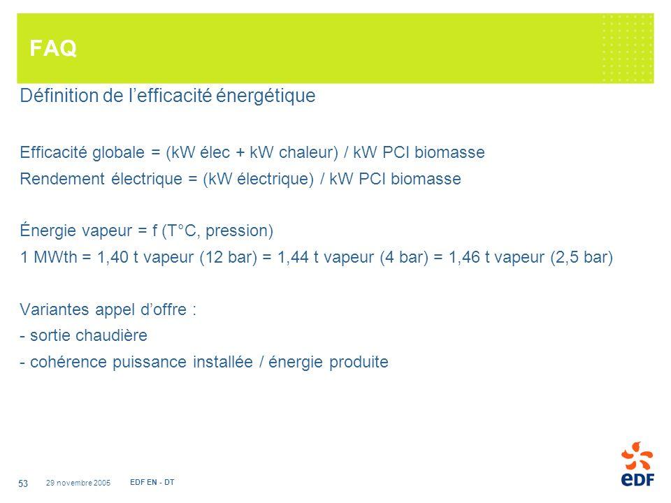 29 novembre 2005 EDF EN - DT 53 FAQ Définition de lefficacité énergétique Efficacité globale = (kW élec + kW chaleur) / kW PCI biomasse Rendement électrique = (kW électrique) / kW PCI biomasse Énergie vapeur = f (T°C, pression) 1 MWth = 1,40 t vapeur (12 bar) = 1,44 t vapeur (4 bar) = 1,46 t vapeur (2,5 bar) Variantes appel doffre : - sortie chaudière - cohérence puissance installée / énergie produite