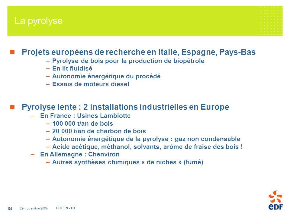 29 novembre 2005 EDF EN - DT 64 La pyrolyse Projets européens de recherche en Italie, Espagne, Pays-Bas –Pyrolyse de bois pour la production de biopétrole –En lit fluidisé –Autonomie énergétique du procédé –Essais de moteurs diesel Pyrolyse lente : 2 installations industrielles en Europe –En France : Usines Lambiotte –100 000 t/an de bois –20 000 t/an de charbon de bois –Autonomie énergétique de la pyrolyse : gaz non condensable –Acide acétique, méthanol, solvants, arôme de fraise des bois .