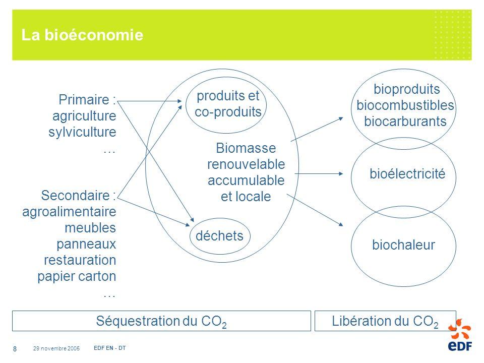 29 novembre 2005 EDF EN - DT 8 La bioéconomie Biomasse renouvelable accumulable et locale déchets produits et co-produits Primaire : agriculture sylviculture … Secondaire : agroalimentaire meubles panneaux restauration papier carton … bioélectricité biochaleur bioproduits biocombustibles biocarburants Séquestration du CO 2 Libération du CO 2