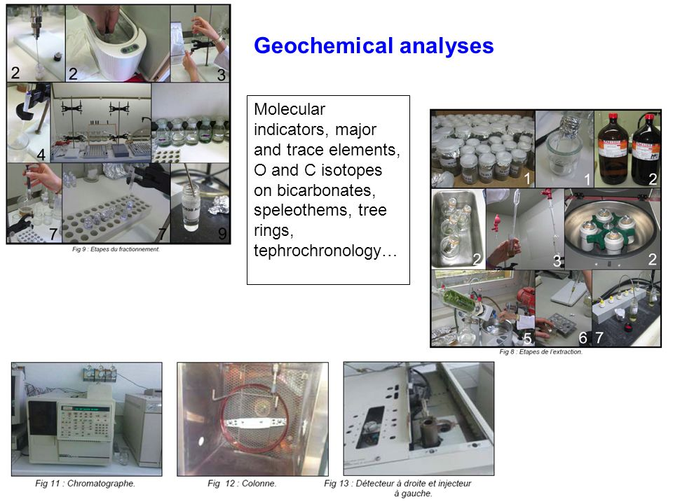 Geochemical analyses Molecular indicators, major and trace elements, O and C isotopes on bicarbonates, speleothems, tree rings, tephrochronology…