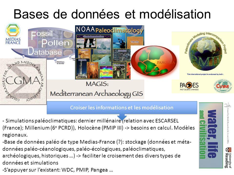 Bases de données et modélisation - Simulations paléoclimatiques: dernier millénaire (relation avec ESCARSEL (France); Millenium (6 e PCRD)), Holocène (PMIP III) -> besoins en calcul.