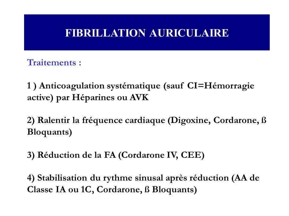 Traitements : 1 ) Anticoagulation systématique (sauf CI=Hémorragie active) par Héparines ou AVK 2) Ralentir la fréquence cardiaque (Digoxine, Cordaron