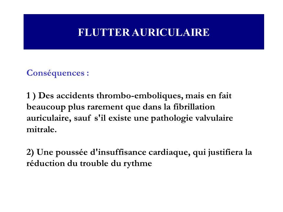 Conséquences : 1 ) Des accidents thrombo-emboliques, mais en fait beaucoup plus rarement que dans la fibrillation auriculaire, sauf s'il existe une pa