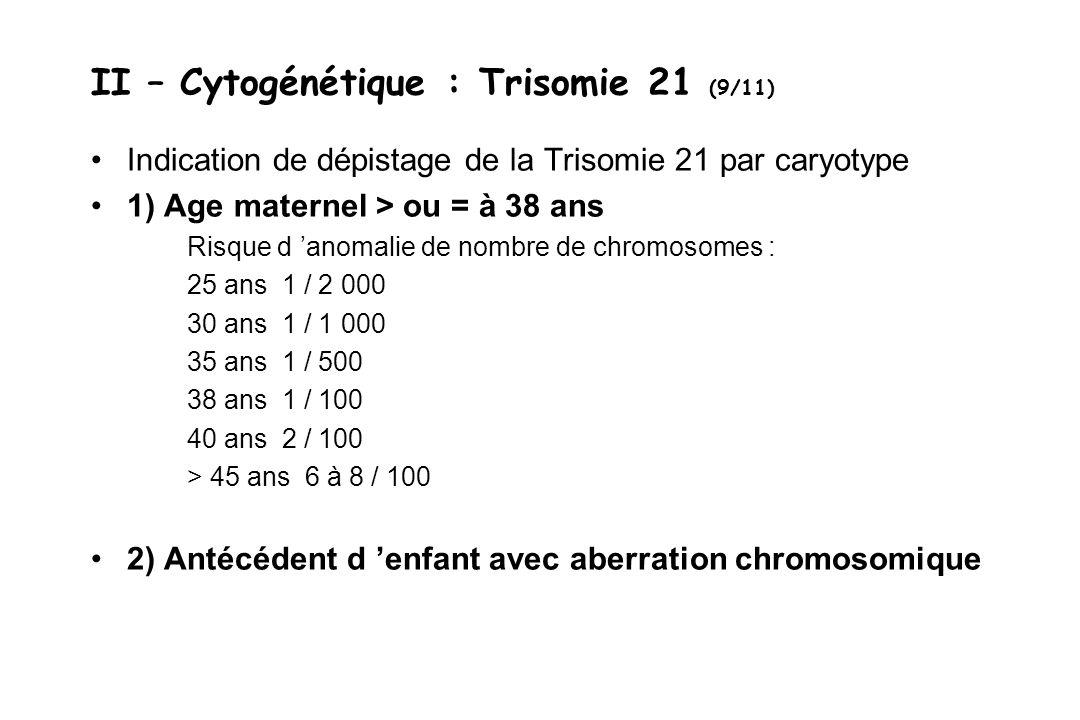 II – Cytogénétique : Trisomie 21 (9/11) Indication de dépistage de la Trisomie 21 par caryotype 1) Age maternel > ou = à 38 ans Risque d anomalie de n