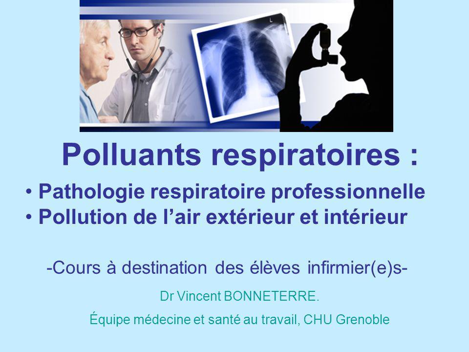 Objectifs 1.Comprendre la notion de polluants respiratoire et les paramètres qui conditionnent leur pathogénie 2.Connaître les principaux mécanismes de défense du poumon 3.Connaître les principales pathologies induites par ces polluants au niveau ORL, pulmonaire, et systémique.
