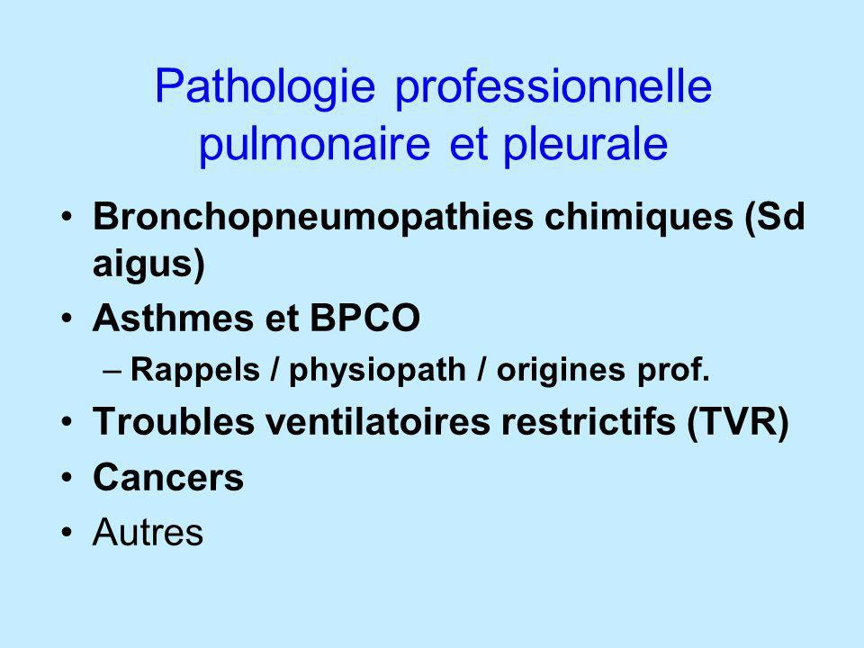 Pathologie professionnelle pulmonaire et pleurale Bronchopneumopathies chimiques (Sd aigus) Asthmes et BPCO –Rappels / physiopath / origines prof. Tro