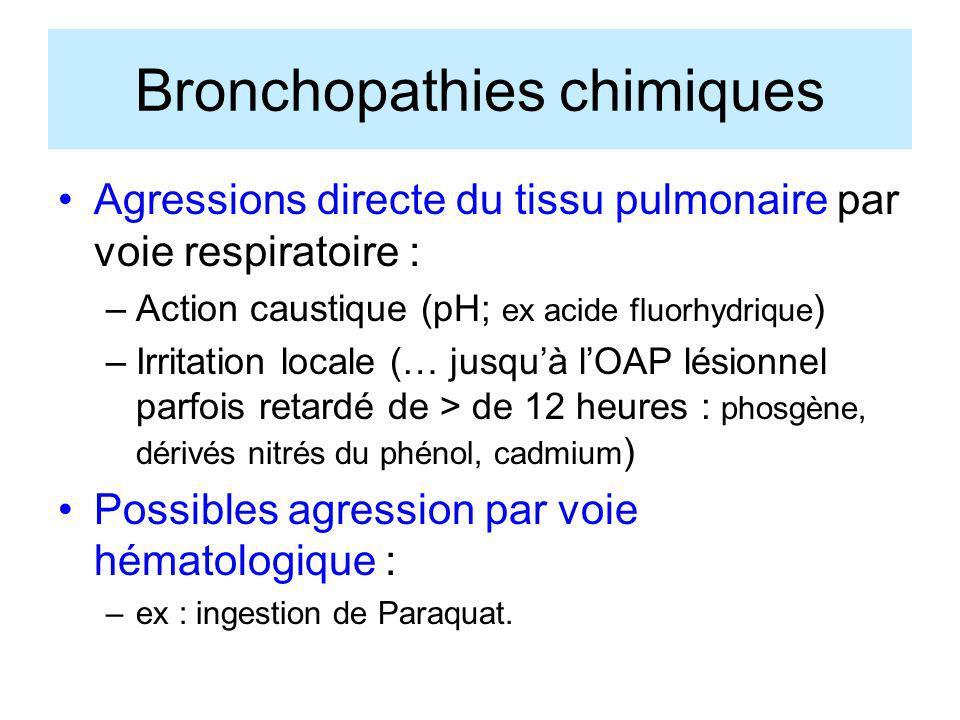 Bronchopathies chimiques Agressions directe du tissu pulmonaire par voie respiratoire : –Action caustique (pH; ex acide fluorhydrique ) –Irritation lo