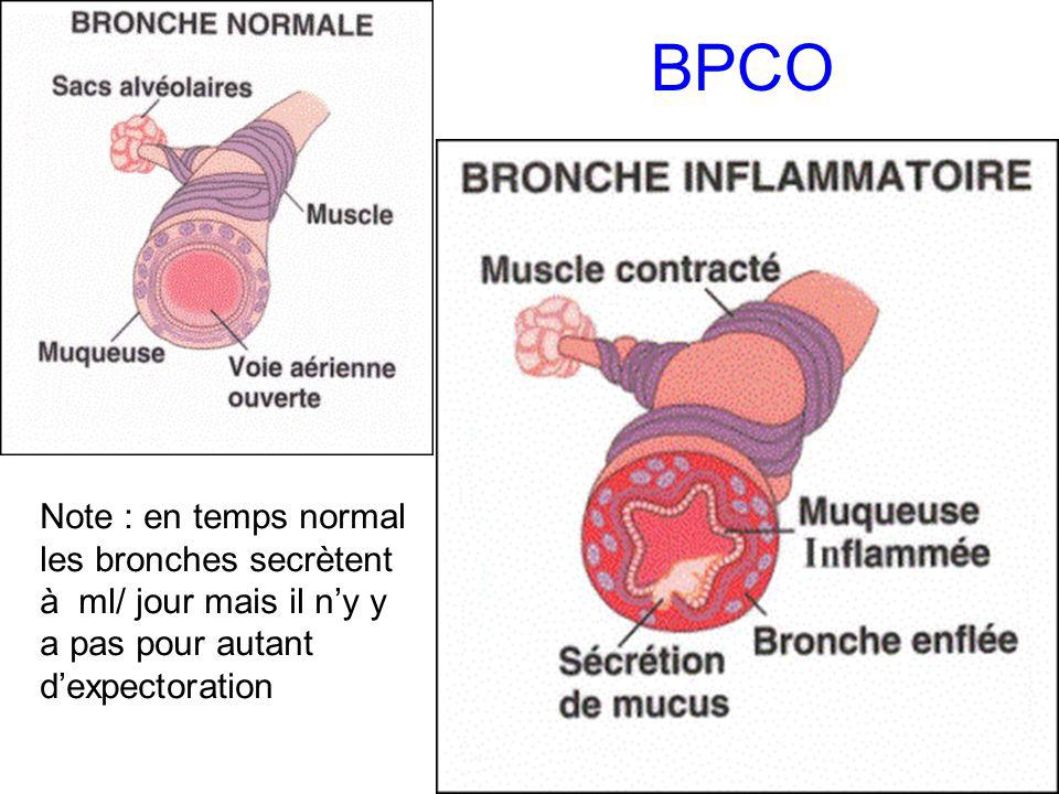 BPCO Note : en temps normal les bronches secrètent à ml/ jour mais il ny y a pas pour autant dexpectoration
