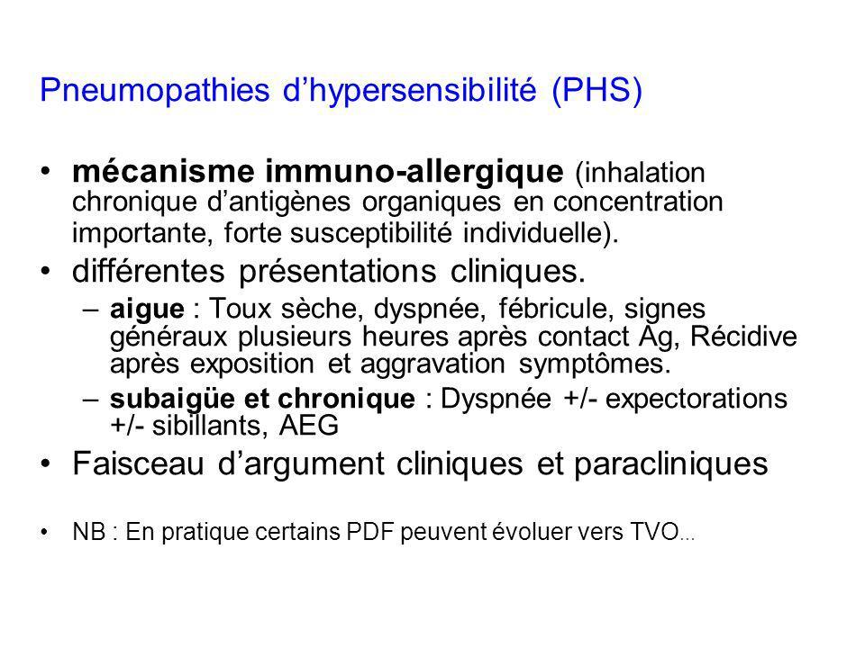 Pneumopathies dhypersensibilité (PHS) mécanisme immuno-allergique (inhalation chronique dantigènes organiques en concentration importante, forte susce