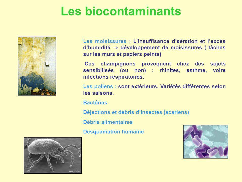 Les moisissures : Linsuffisance daération et lexcès dhumidité développement de moisissures ( tâches sur les murs et papiers peints) Ces champignons pr