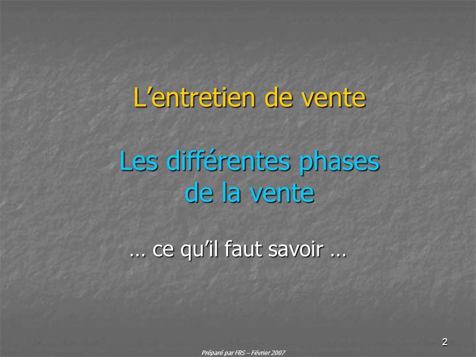 Préparé par FBS – Février 2007 2 Lentretien de vente Les différentes phases de la vente … ce quil faut savoir …