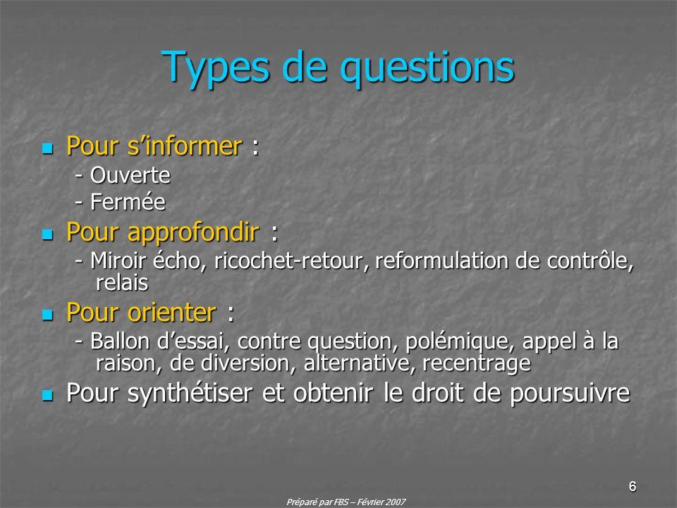 Préparé par FBS – Février 2007 6 Types de questions Pour sinformer : Pour sinformer : - Ouverte - Fermée Pour approfondir : Pour approfondir : - Miroi
