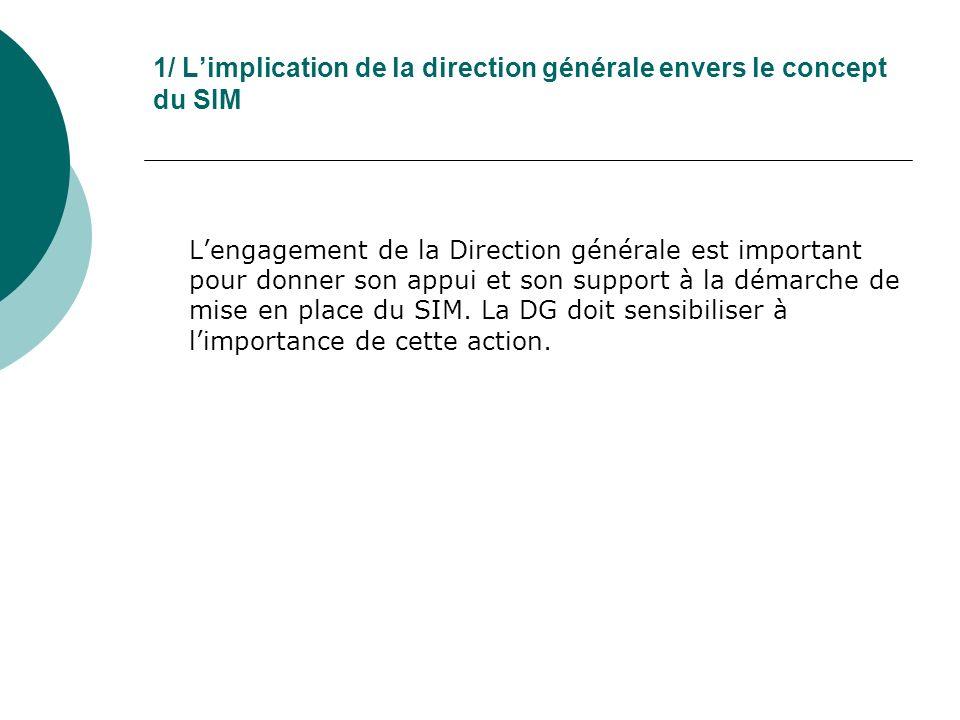 1/ Limplication de la direction générale envers le concept du SIM Lengagement de la Direction générale est important pour donner son appui et son support à la démarche de mise en place du SIM.