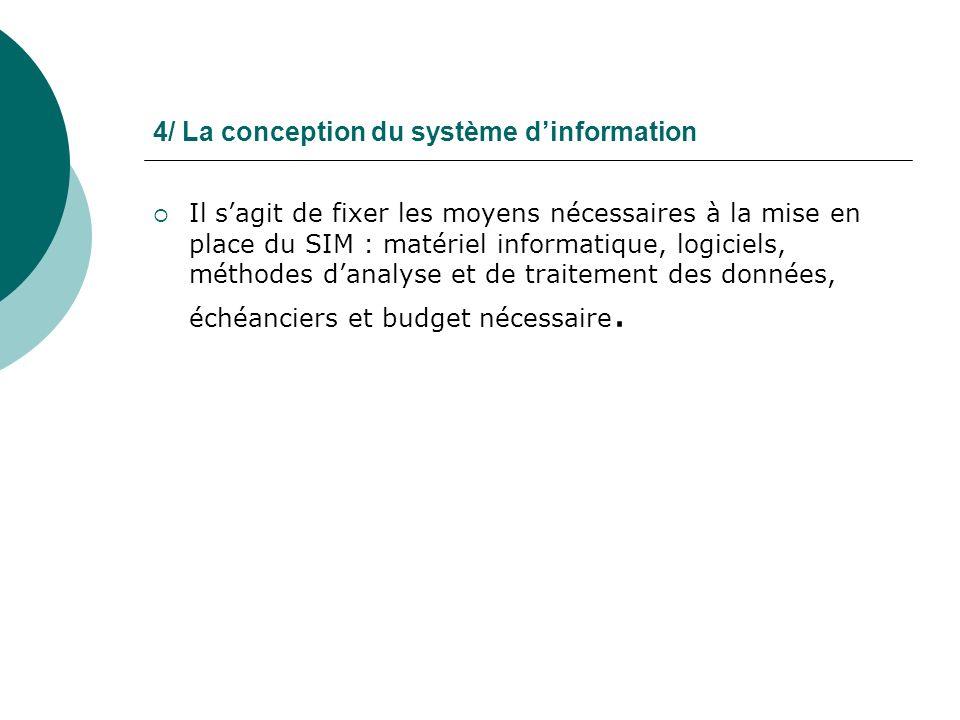 4/ La conception du système dinformation Il sagit de fixer les moyens nécessaires à la mise en place du SIM : matériel informatique, logiciels, méthod
