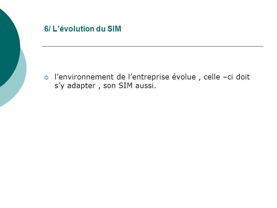 6/ Lévolution du SIM lenvironnement de lentreprise évolue, celle –ci doit sy adapter, son SIM aussi.