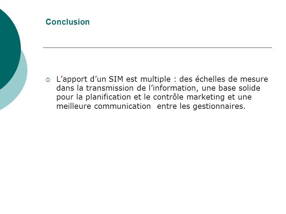 Conclusion Lapport dun SIM est multiple : des échelles de mesure dans la transmission de linformation, une base solide pour la planification et le contrôle marketing et une meilleure communication entre les gestionnaires.