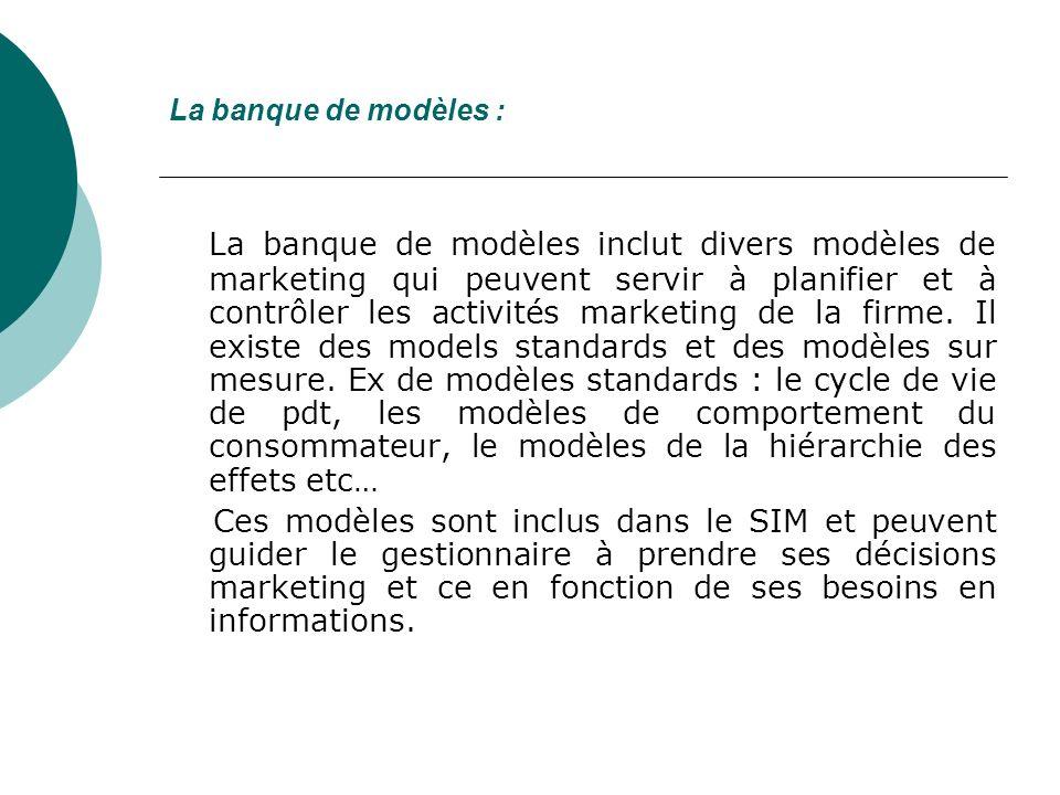 La banque de modèles : La banque de modèles inclut divers modèles de marketing qui peuvent servir à planifier et à contrôler les activités marketing de la firme.