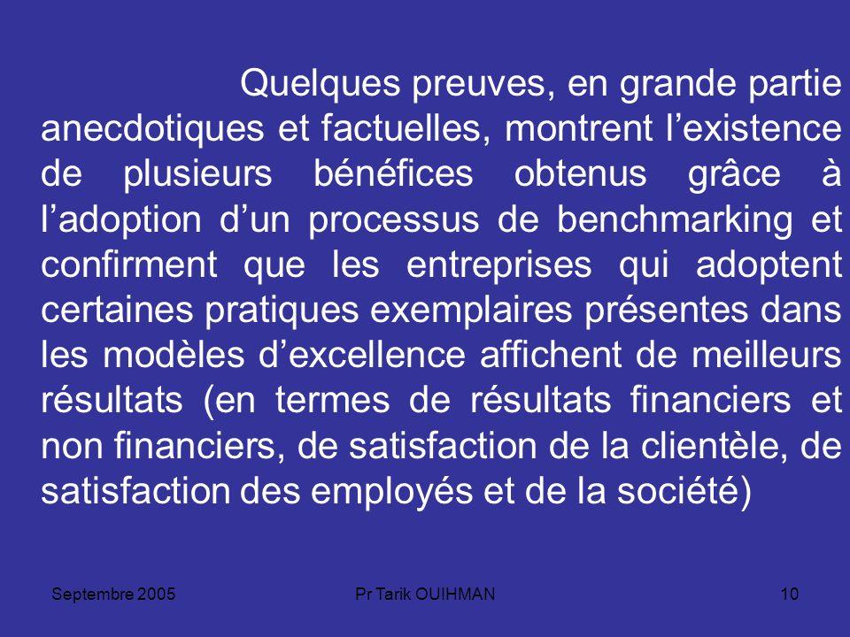 Septembre 2005Pr Tarik OUIHMAN10 Quelques preuves, en grande partie anecdotiques et factuelles, montrent lexistence de plusieurs bénéfices obtenus grâ