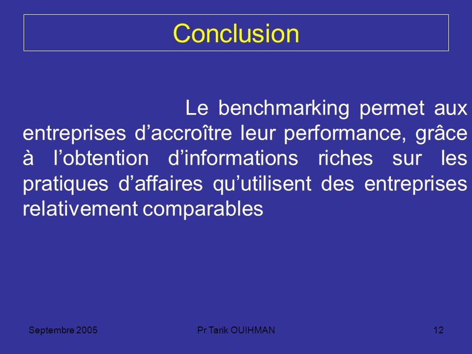 Septembre 2005Pr Tarik OUIHMAN12 Conclusion Le benchmarking permet aux entreprises daccroître leur performance, grâce à lobtention dinformations riche