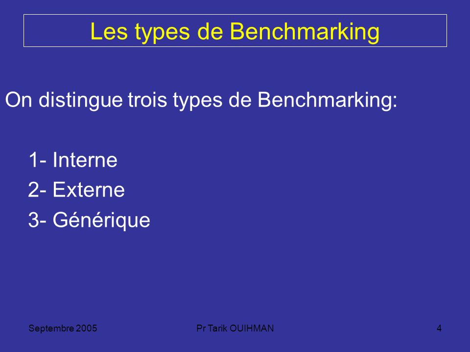 Septembre 2005Pr Tarik OUIHMAN4 Les types de Benchmarking On distingue trois types de Benchmarking: 1- Interne 2- Externe 3- Générique