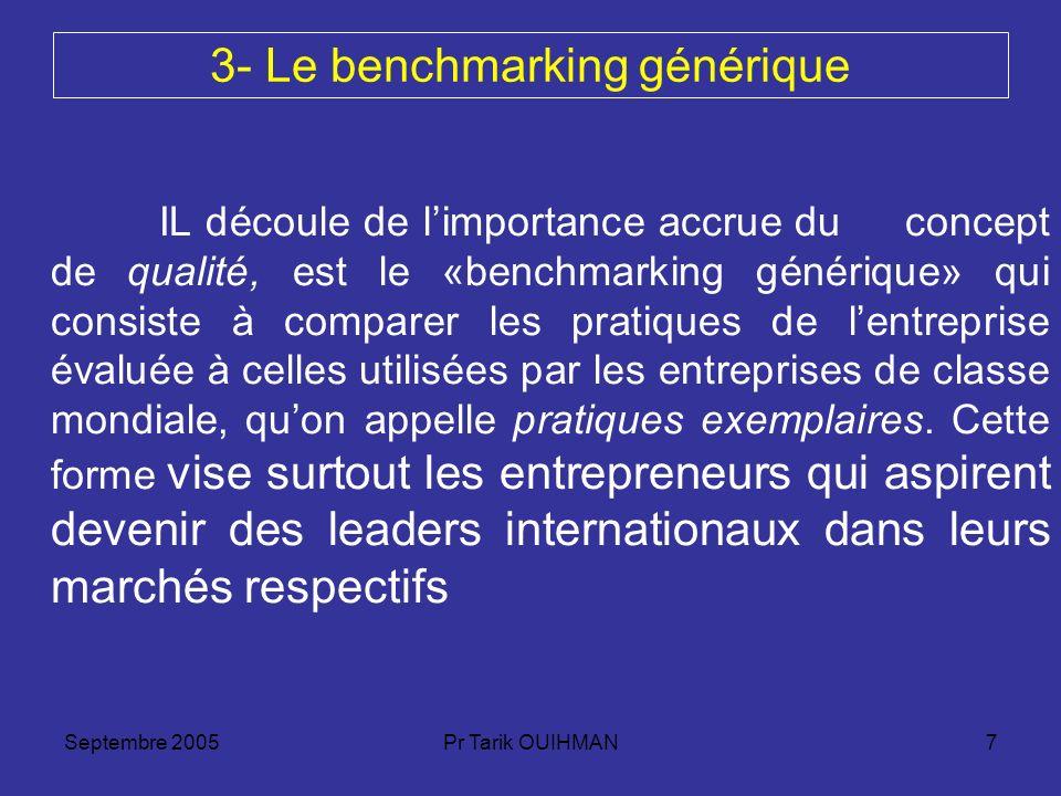 Septembre 2005Pr Tarik OUIHMAN7 3- Le benchmarking générique IL découle de limportance accrue du concept de qualité, est le «benchmarking générique» q