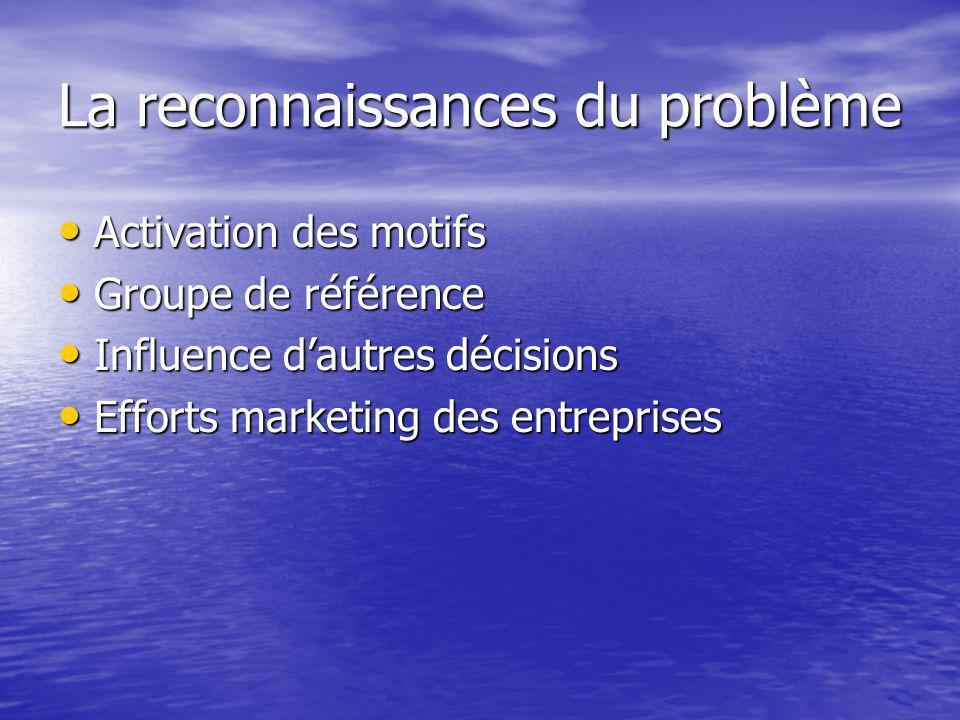 La reconnaissances du problème Activation des motifs Activation des motifs Groupe de référence Groupe de référence Influence dautres décisions Influence dautres décisions Efforts marketing des entreprises Efforts marketing des entreprises
