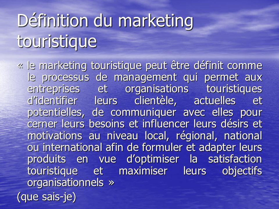 Définition du marketing touristique Selon lOMT: CommunicationDéveloppement Contrôle.