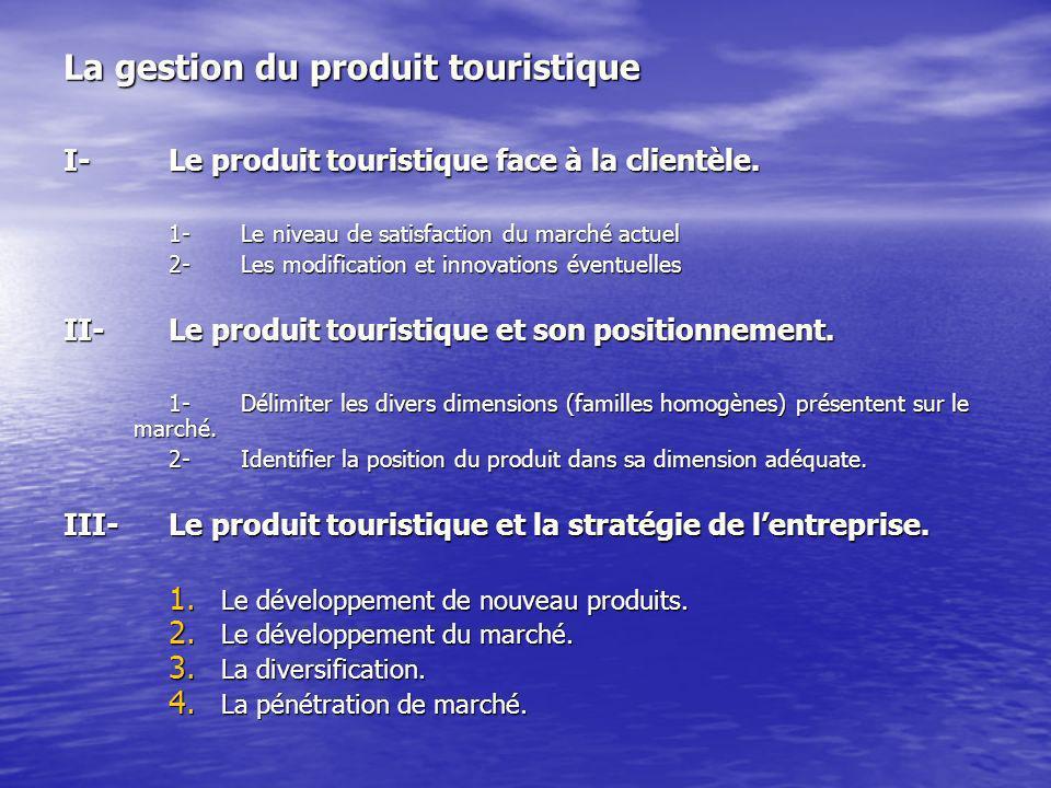 La gestion du produit touristique I-Le produit touristique face à la clientèle.