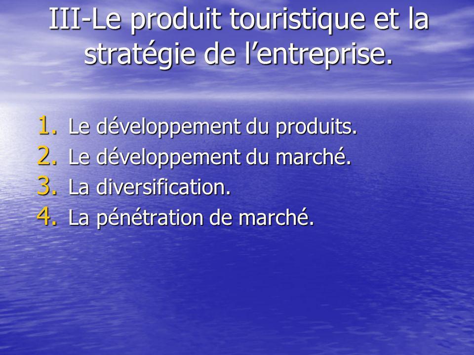 III-Le produit touristique et la stratégie de lentreprise.