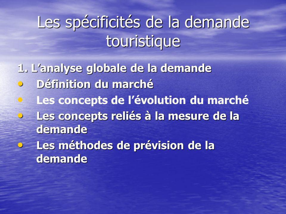 Les spécificités de la demande touristique 1.
