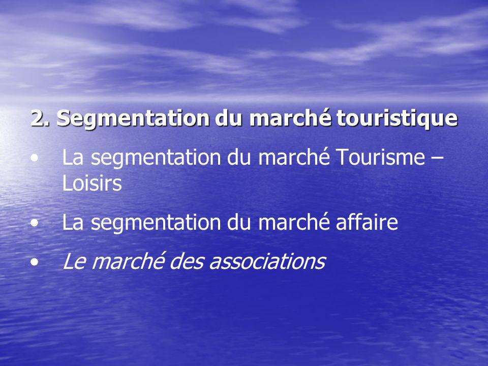 2. Segmentation du marché touristique La segmentation du marché Tourisme – Loisirs La segmentation du marché affaire Le marché des associations