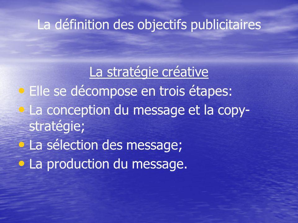 La définition des objectifs publicitaires La stratégie créative Elle se décompose en trois étapes: La conception du message et la copy- stratégie; La sélection des message; La production du message.