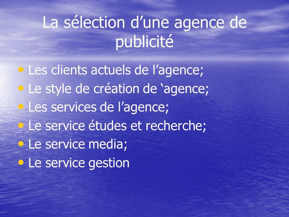 La sélection dune agence de publicité Les clients actuels de lagence; Le style de création de agence; Les services de lagence; Le service études et recherche; Le service media; Le service gestion