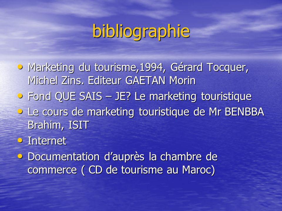 bibliographie Marketing du tourisme,1994, Gérard Tocquer, Michel Zins.