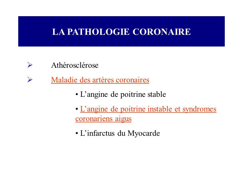LA PATHOLOGIE CORONAIRE Athérosclérose Maladie des artères coronaires Langine de poitrine stable Langine de poitrine instable et syndromes coronariens