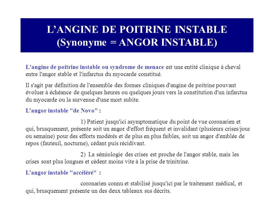 LANGINE DE POITRINE INSTABLE (Synonyme = ANGOR INSTABLE) L'angine de poitrine instable ou syndrome de menace est une entité clinique à cheval entre l'