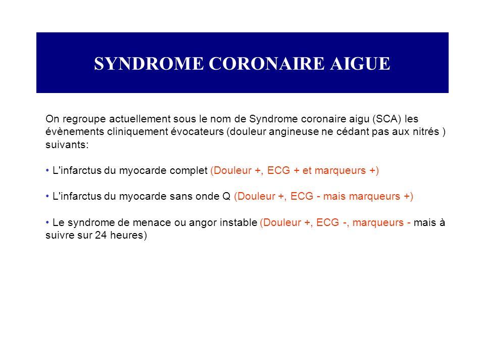 SYNDROME CORONAIRE AIGUE On regroupe actuellement sous le nom de Syndrome coronaire aigu (SCA) les évènements cliniquement évocateurs (douleur angineu