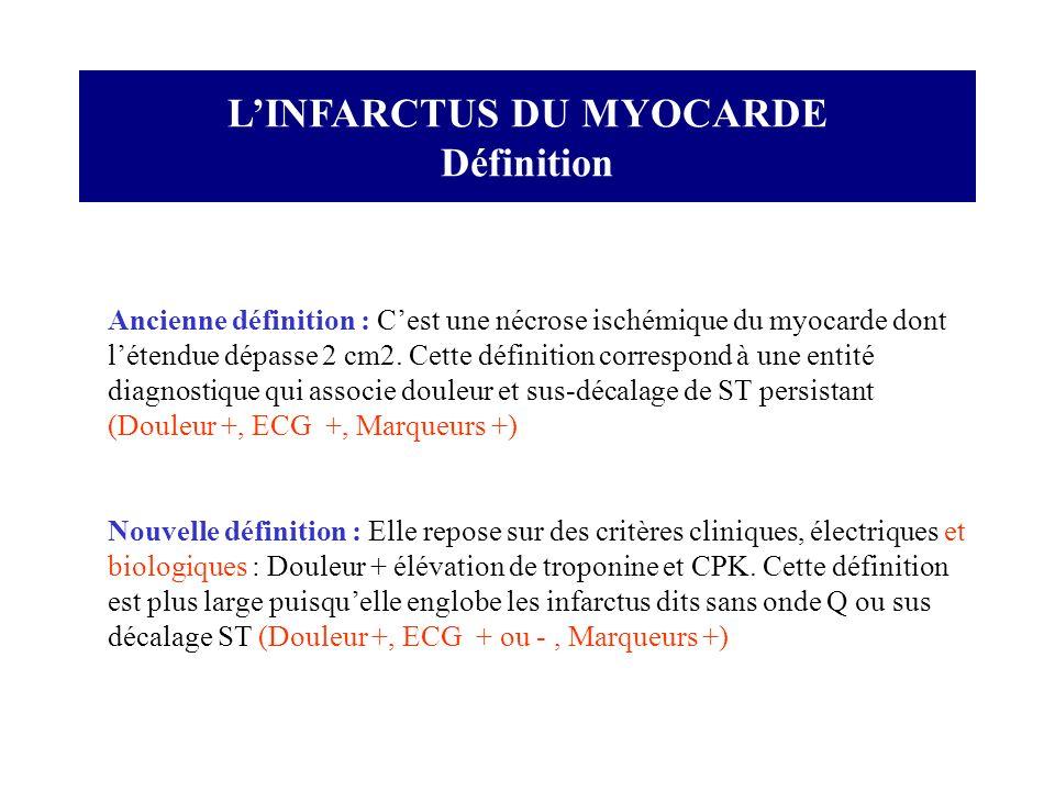 LINFARCTUS DU MYOCARDE Définition Ancienne définition : Cest une nécrose ischémique du myocarde dont létendue dépasse 2 cm2. Cette définition correspo