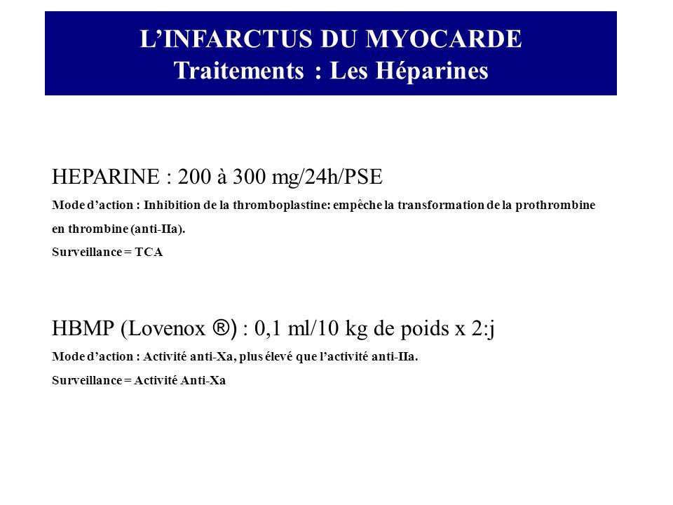 LINFARCTUS DU MYOCARDE Traitements : Les Héparines HEPARINE : 200 à 300 mg/24h/PSE Mode daction : Inhibition de la thromboplastine: empêche la transfo