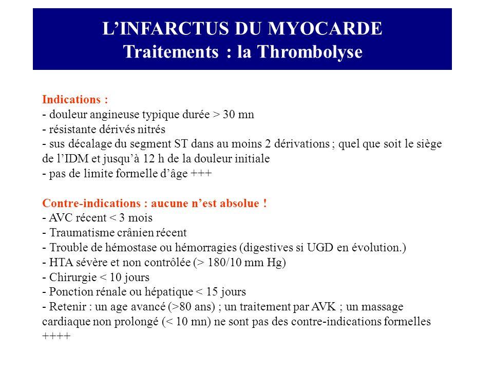 LINFARCTUS DU MYOCARDE Traitements : la Thrombolyse Indications : - douleur angineuse typique durée > 30 mn - résistante dérivés nitrés - sus décalage