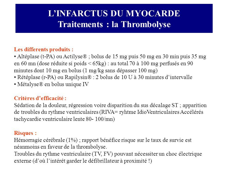 Les differents produits : Altéplase (t-PA) ou Actilyse® ; bolus de 15 mg puis 50 mg en 30 min puis 35 mg en 60 mn (dose réduite si poids < 65kg) : au