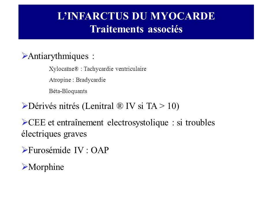 LINFARCTUS DU MYOCARDE Traitements associés Antiarythmiques : Xylocaïne® : Tachycardie ventriculaire Atropine : Bradycardie Béta-Bloquants Dérivés nit